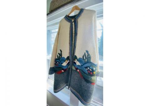 Vintage Hand Knit and Hand Embroidered Wool Sweater Coat